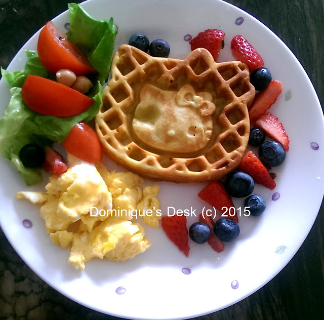 Hello Kitty Waffle with fruits, salad and egg