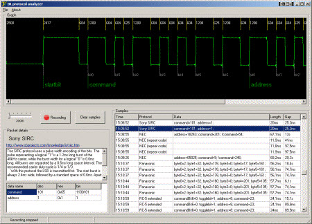 IR Protocol Analyzer sofware screenshot