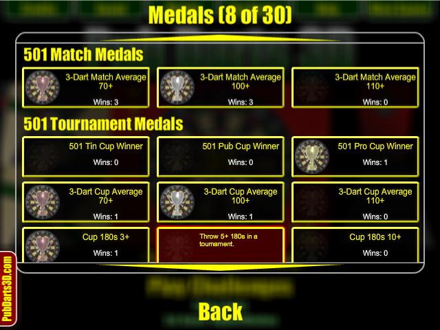 Pub Darts 3D - Darts Medals/Achievements