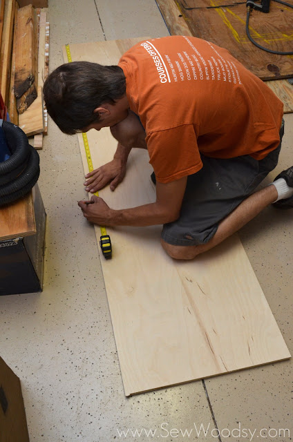 measuring PureBond Hardwood Plywood for kitchen shelve