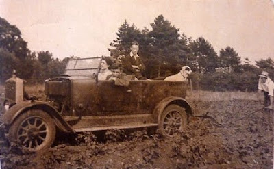 Albert Thorogood was the chauffeur and head gardener at Little Shelford Hall in the 1920s. When the owner Mrs Altham died, she left Albert the bentley. Here you can see him using the car to plough his smallholding beside the railway crossing on Hauxton Road.