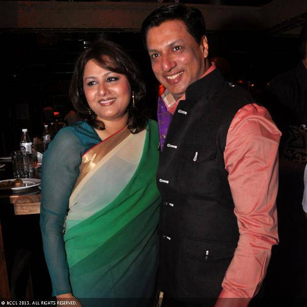 Vani Tripathi with Madhur Bhandarkar during her birthday bash, held in Delhi.