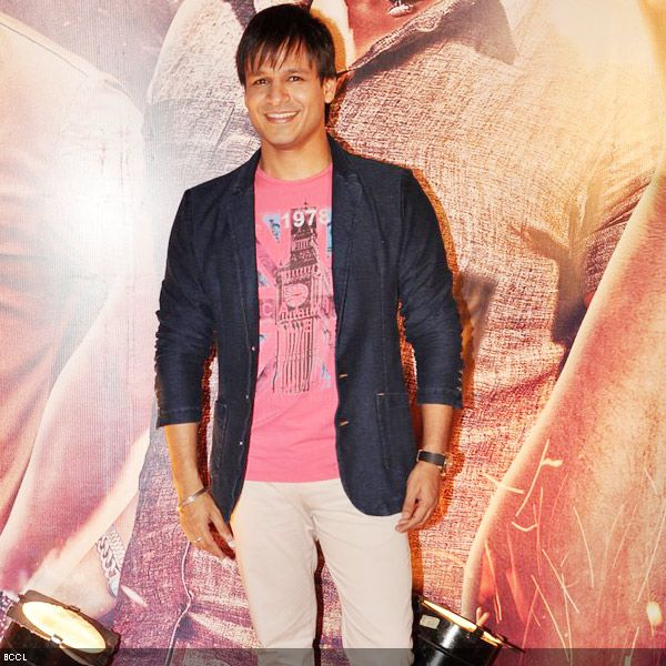 Vivek Oberoi smiles into the camera at the premiere of the movie 'Zila Ghaziabad', held at PVR Cinema in Mumbai, on February 21, 2013. (Pic: Viral Bhayani)