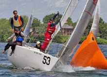 J/24 one-design sailboat- sailing at US Nationals on Lake Minnetonka, MN