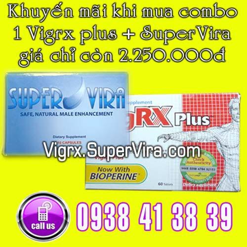 Vigrx Plus khuyến mãi đặc biệt Combo 1 Vigrx Plus + 1 Supervira giá chỉ còn 2.250.000đ