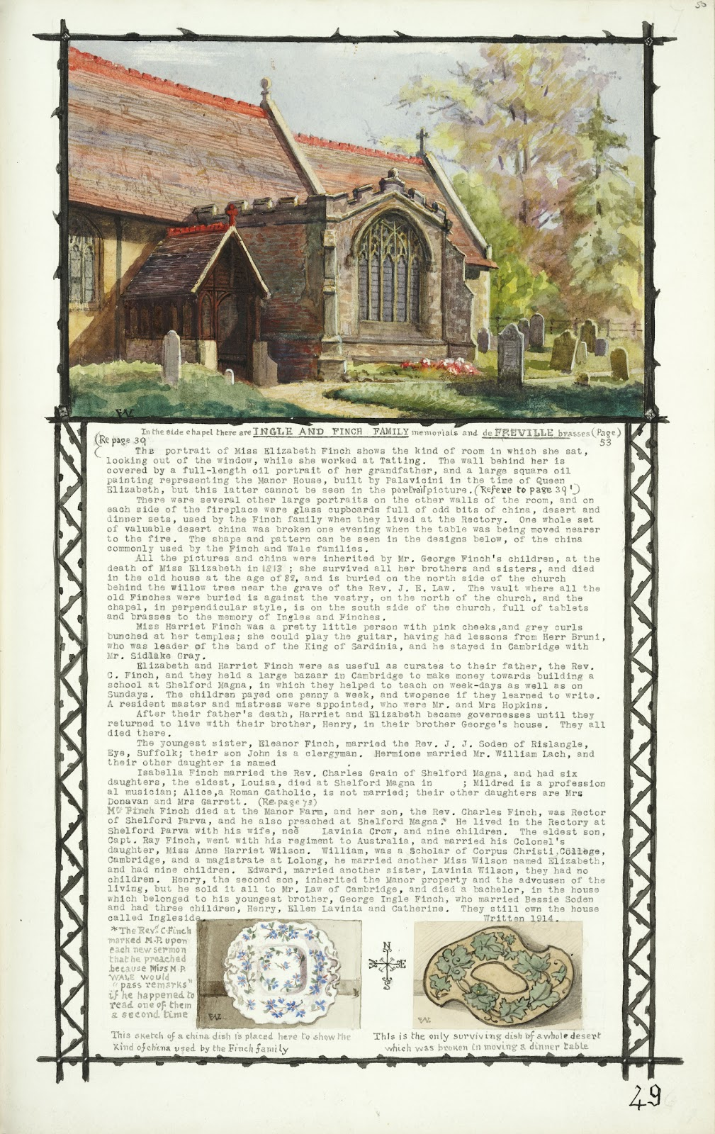 A Record of Shelford Parva by Fanny Wale P49 fo. 50, page 49: A coloured watercolour of the side chapel of All Saints Church with Ingle and Finch family descriptions and biography 1911, two watercolours of plates show the sort of plates used by the Finch family. [fo.38]