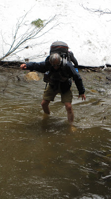 The stream was icy--but the snow on either side was colder yet!©http://backpackthesierra.com