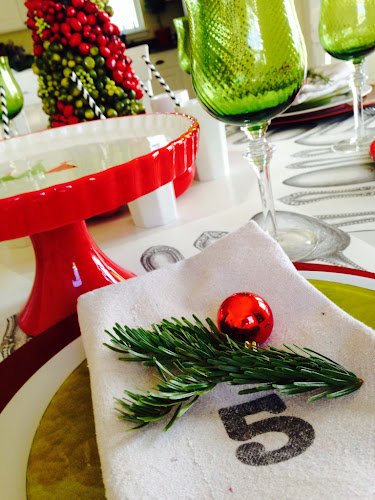 Christmas Tablescape red and lime green