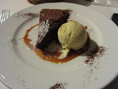Leon de Lyon -- Chocolate brownie with walnuts, raw milk(?) ice cream, and caramel sauce
