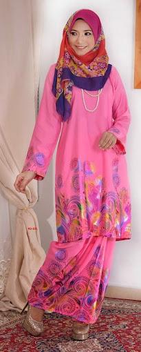 Baju Raya 2014 Baju Kurung Pahang Cotton 3D Pink Merah Jambu Murah