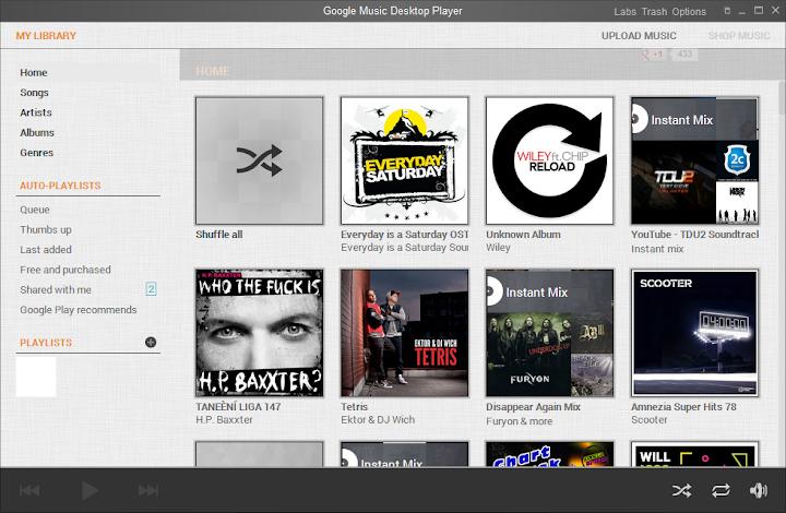 Úvodní obrazovka - Google Music Desktop Player