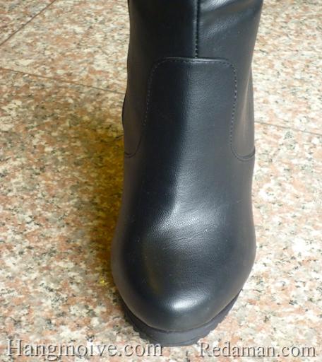 Boots đế xuồng, cao cổ quá đầu gối, chất liệu bằng da, màu đen 4 - Chỉ với 1.190.000đ