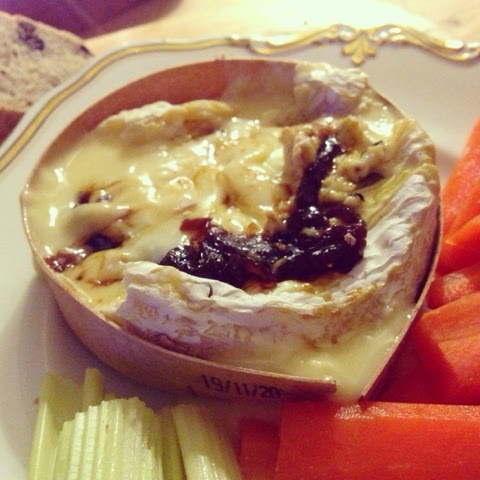 Gooey baked camembert ready to eat!