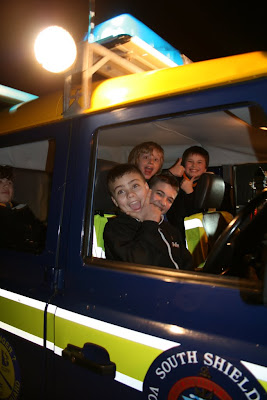 Scouts in an emergency coast guard landrover
