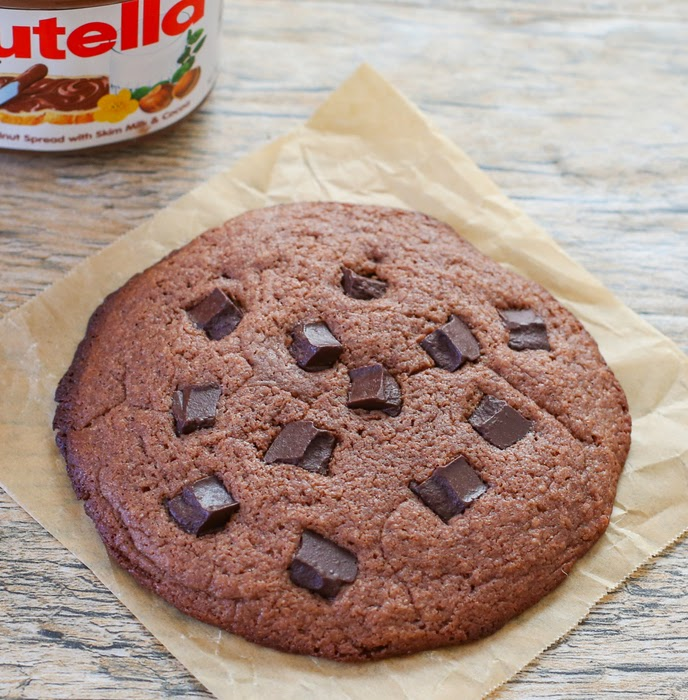 overhead photo of a nutella cookie with chocolate chunks