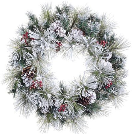 24-inch Flocked American Pine Artificial Christmas Wreath with Berries & Pine Cones