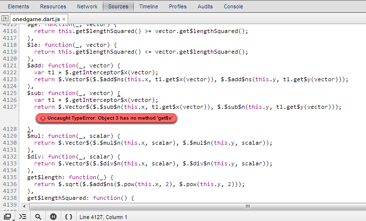 Error in Javascript generated by Dart