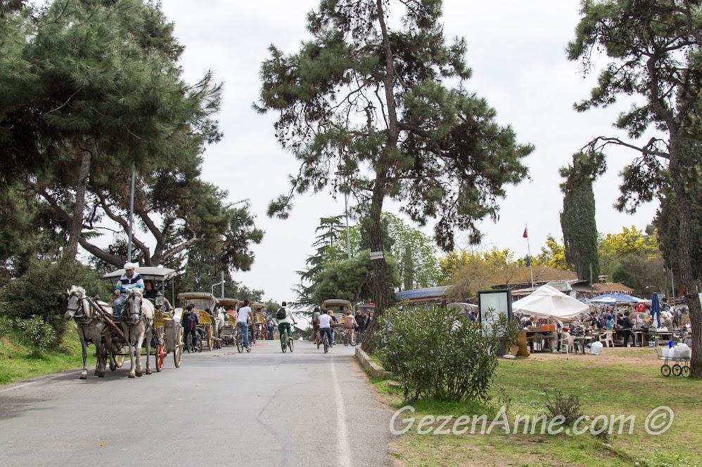 Bisikletli, faytonlu Büyükada sokakları