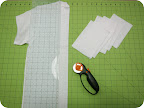 Cut a white T-shirt into a bunch of rectangle pieces measuring about 4.5 x 6 inches each.