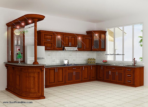 Kệ bếp bằng gỗ tự nhiên