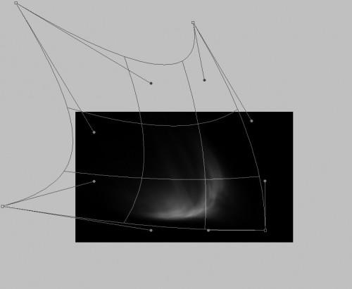 Arraste os pontos e guias para distorcer a nuvem da forma necessária, envolvendo o meteoro