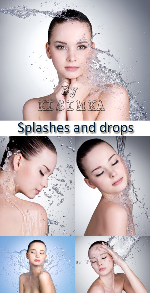 Stock Photo: Splashes and drops of water around the female face
