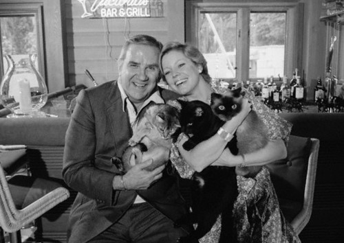 Ed McMahon and an unknown woman and some cats