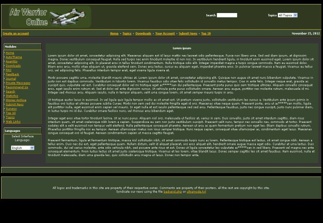 Green Air Warrior Phpnuke Theme Template