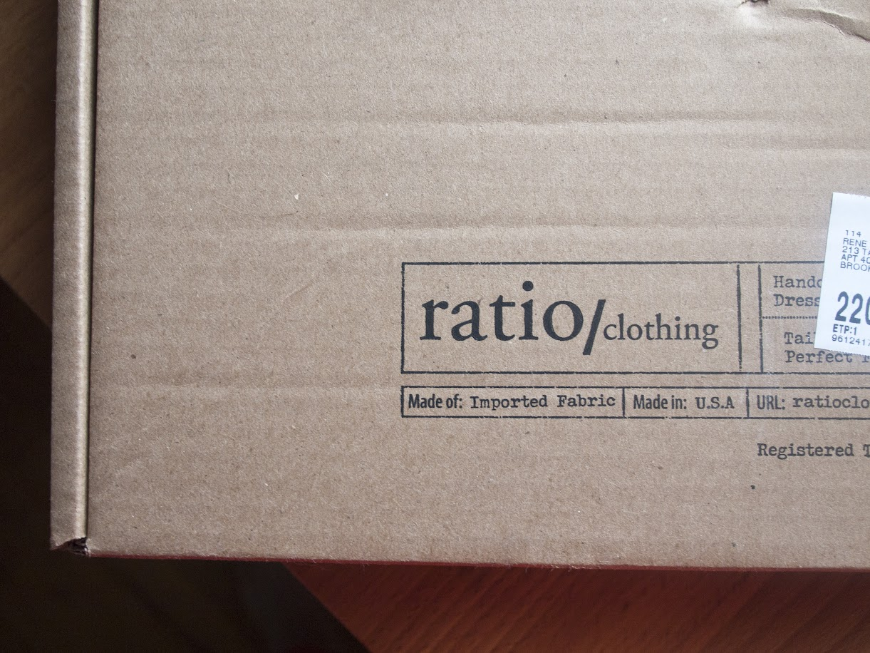 Ratio Clothing shipping box.