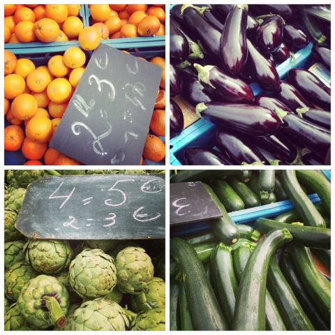 Oranges - Zucchini - Artichoke - Flagey market - fresh vegetables