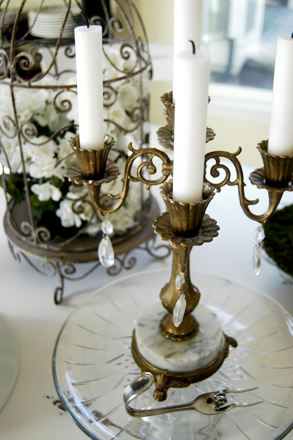 Gold candelabra centerpiece- The Style Sisters