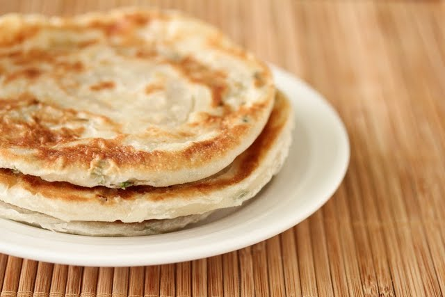 close-up photo of a plate of scallion pancakes