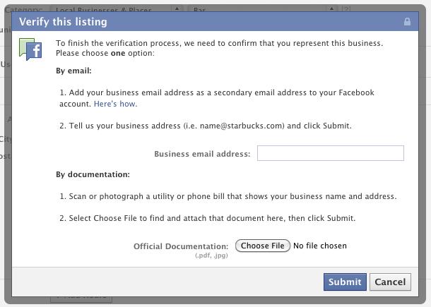 δήλωση ιδιοκτησίας Facebook σελίδας τοποθεσίας