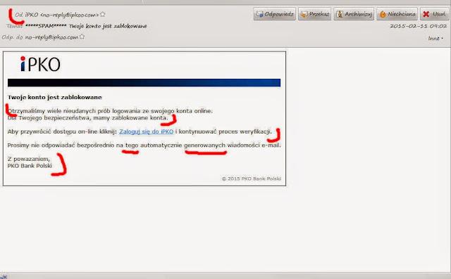 Atak phishingu - łamana polszyczna.