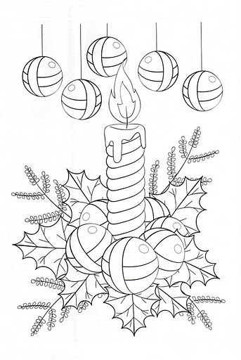 Christmas candles and Christmas ball coloring pages