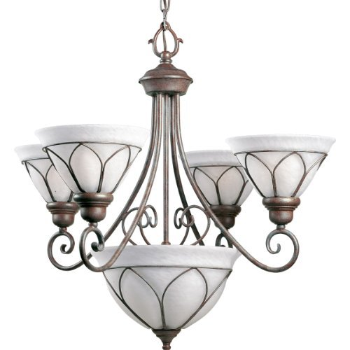 Progress Lighting P4047-33 4-Light Verona Chandelier, Cobblestone