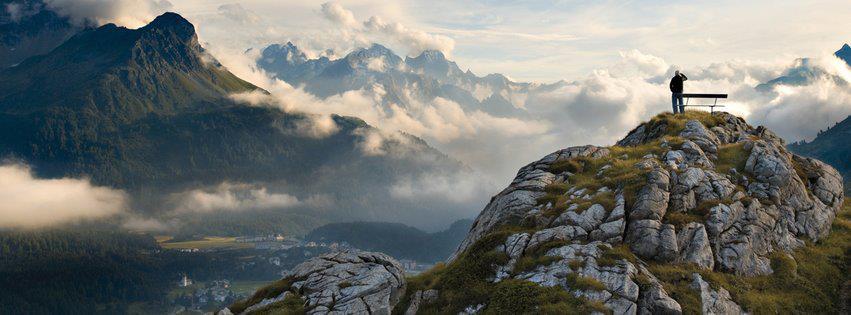 Yükseklerden dağ manzarası facebook kapak fotoğrafı