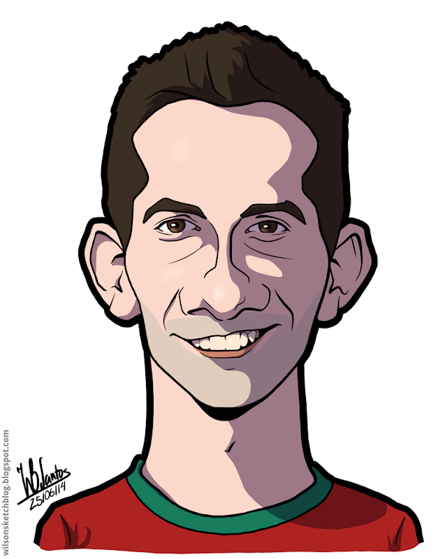 Cartoon caricature of João Moutinho.