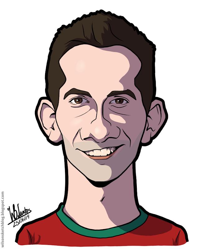 Cartoon caricature of João Moutinho.