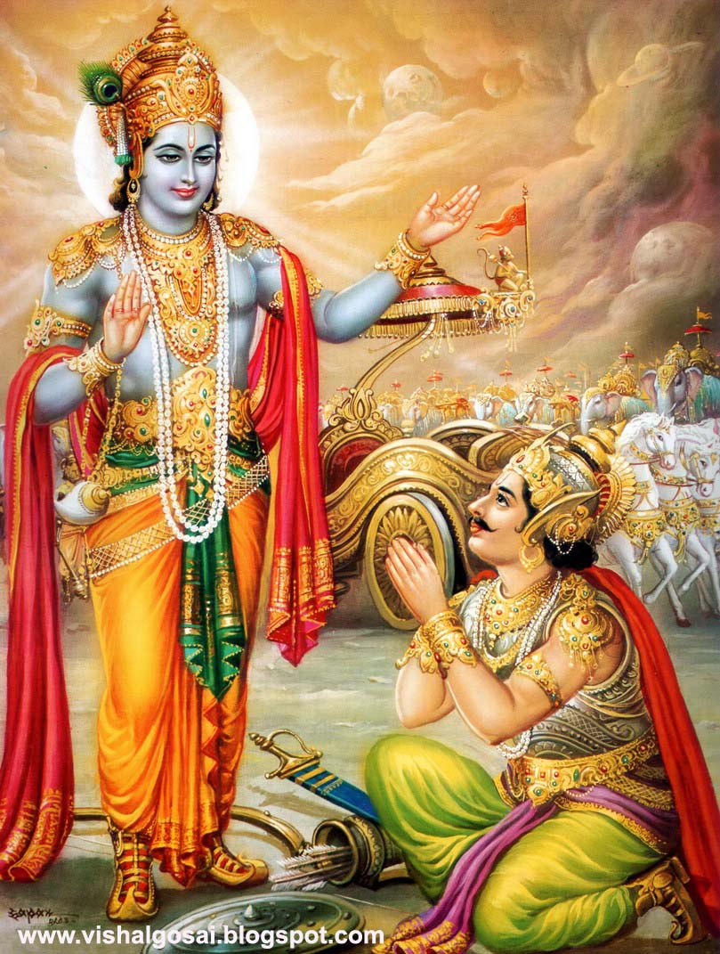 Latest Popular Geeta Updesh Mahabharat Krishna Arjuna Wallpapers for free download
