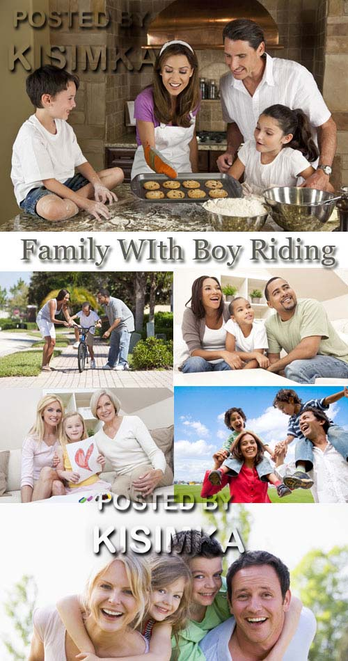 Stock Photo: Family WIth Boy Riding Bike