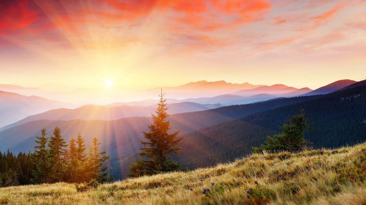 Pemandangan Matahari Terbit Di Gunung Wallpaper Downloading