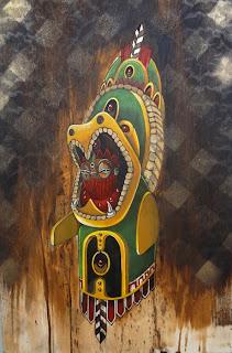 "Serpent Warrior, Acrylic and aerosol on Wood, 12"" x 18"",  $1,200"
