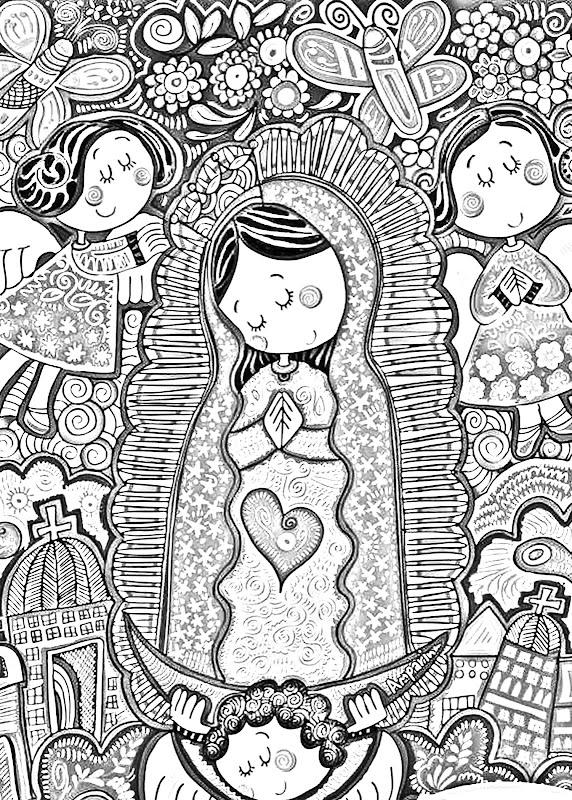 Virgen de Guadalupe fresa para colorear