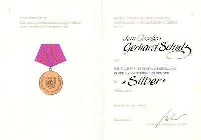 278a Medaille für treue Pflichterfüllung in der Zivilverteidigung der Deutsche Demokratische Republik in Silber