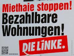 Wahlplakat: »Miethaie stoppen! Bezahlbare Wohnungen! Die Linke.«.