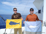 Eric and Doug Hemler with their Flags for the day!  The score was one Mahi Mahi two Spearfish!  March 22,  2011
