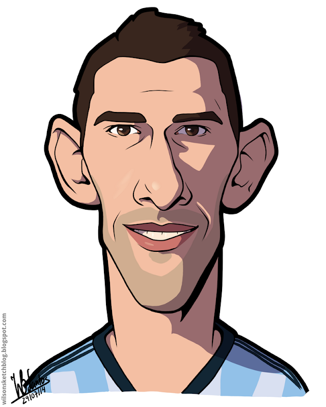 Cartoon caricature of Maxi Rodríguez.
