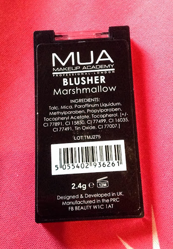 MUA Blush in Marshmallow back of packaging