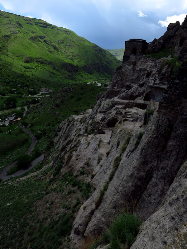 A thunderstorm rolls through the valley at Vardzia